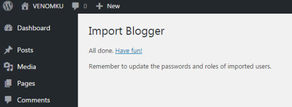 Blogger Importer Success