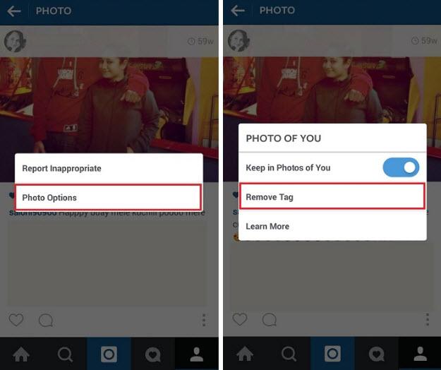 Menghilangkan Tag pada Instagram