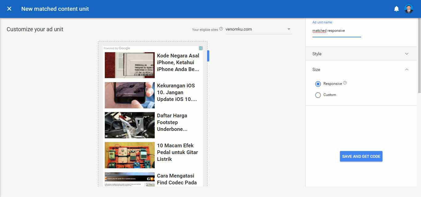 Mengaktifkan Matched Content Adsense