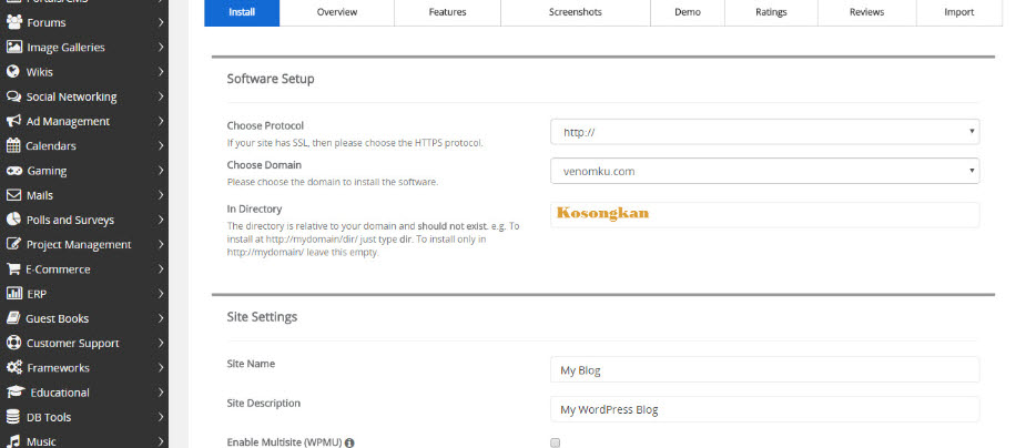 cara instal wordpress