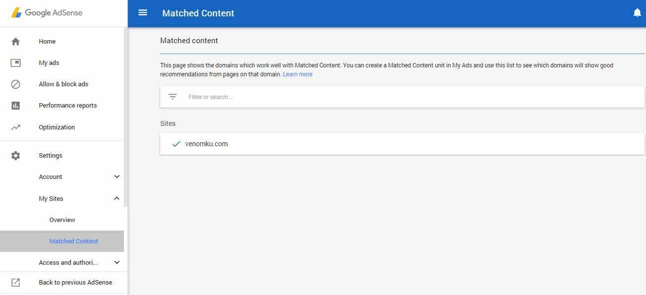 """Mendapatkan Fitur Matched Content """"Konten Yang Sesuai"""" Adsense"""